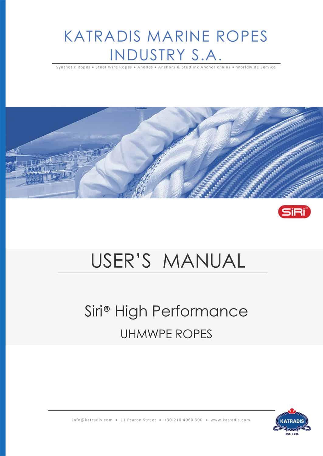 User s Manual Siri UHMWPE High Performance Ropes 1